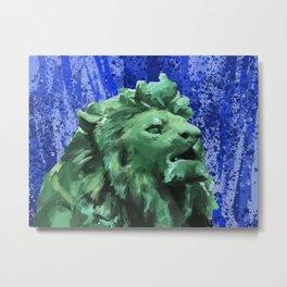 Chicago Lion Blue Metal Print