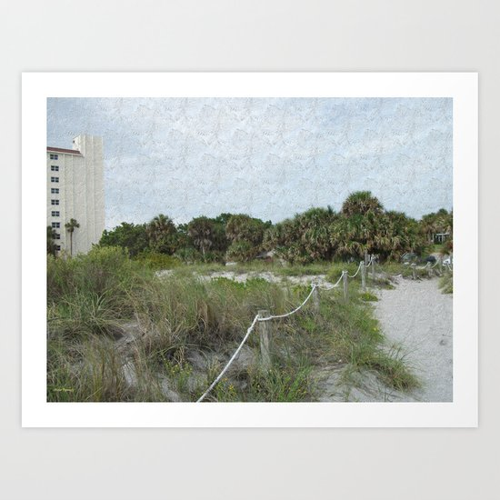Siesta Keys Beach Trail in Blue Spruce Texture Art Print
