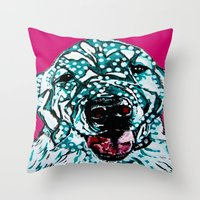 golden retriever Throw Pillows featuring Golden Retriever by Amy Reber