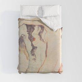 Two Women Embracing, Egon Schiele Duvet Cover