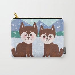 Merry Christmas New Year's card design Kawaii funny brown husky dog Carry-All Pouch