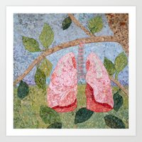 biology Art Prints featuring Biology: Lungs by Textility