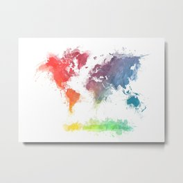 World Map splash 3 Metal Print