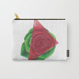 Green and Red Rose with Triangle Carry-All Pouch