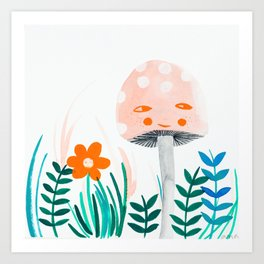 pink mushroom with floral elements Art Print