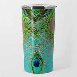 TURQUOISE BLUE-GREEN PEACOCK FEATHERS ART Travel Mug