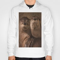 otters Hoodies featuring River Otters by Joshua Arlington