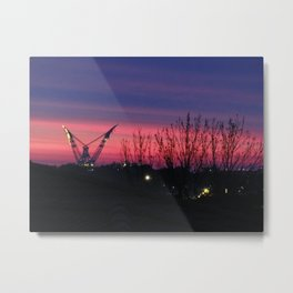 Sunset lovely colors, heavy lift vessel in the horizont Metal Print
