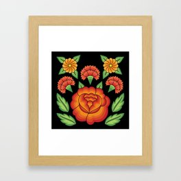 Mexican Folk Pattern – Tehuantepec Huipil flower embroidery Framed Art Print