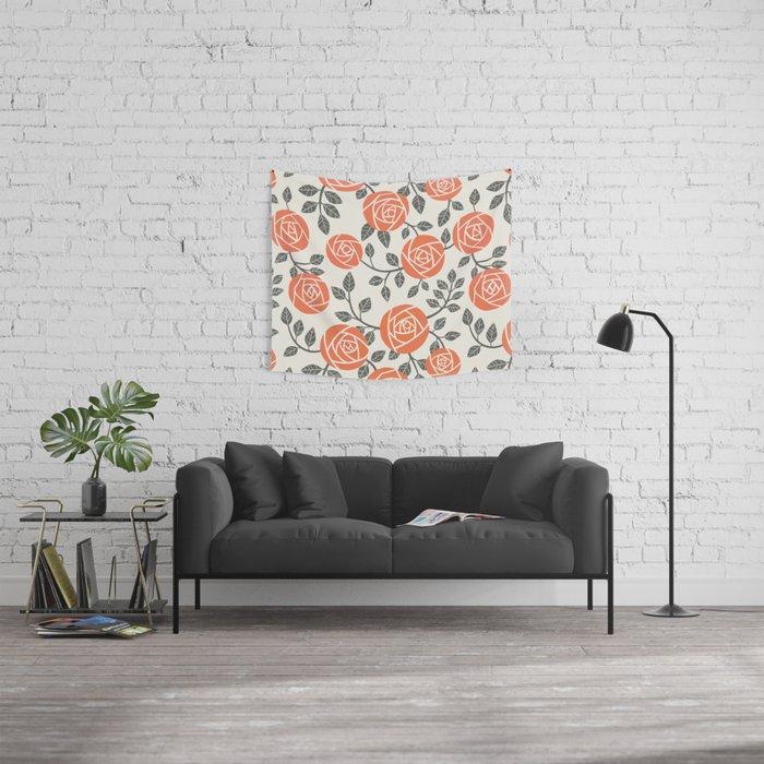Retro roses Wall Tapestry