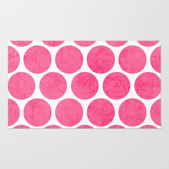 Pink Polka Dots Rug By Her Art