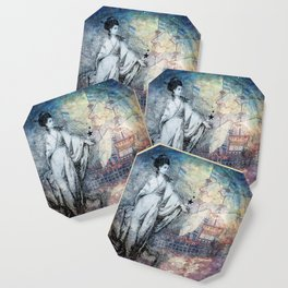 Inspire - A muse and her ship of dreams collage Coaster