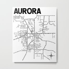 Aurora Ohio Map Metal Print