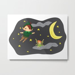 Peter Pan on the Night Sky Metal Print