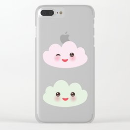 Kawaii funny white clouds set, muzzle with pink cheeks and winking eyes. blue pattern Clear iPhone Case