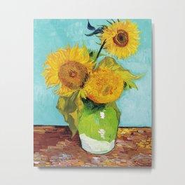 Vincent van Gogh - Three Sunflowers Metal Print