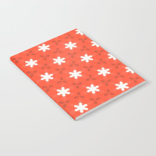 white star on red pattern Notebook