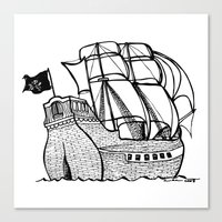 pirate ship Canvas Prints featuring Pirate Ship by Addison Karl