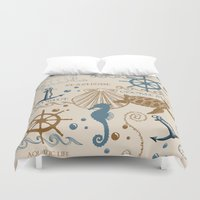 tote bag Duvet Covers featuring Sea Shore Tote Bag Design With Turtles, And Other Ocean Items by Moonlake Designs