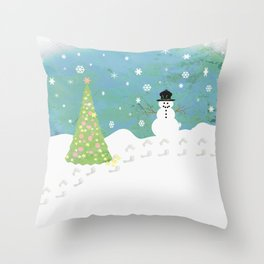 Snowman on Christmas Day Throw Pillow