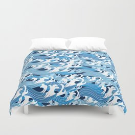 Beautiful seamless vector pattern graphic blue sea waves Duvet Cover