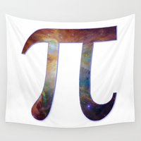 pi Wall Tapestries featuring Happy pi day - pi geek design with galaxy space nebula stars background math nerd geeky hipster by iGallery
