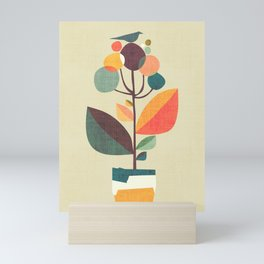 Potted plant with a bird Mini Art Print