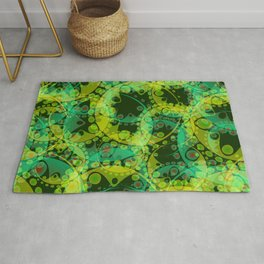 Spring pastels gently pearl and lemon circles and green ellipses with the image of abstract flowers Rug