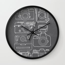Vintage Camera Illustrations on Chalkboard Wall Clock