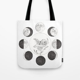 Raven Skull with Moon Cycle Tote Bag