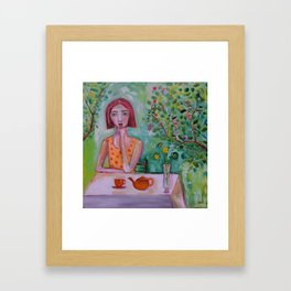 Lady in the Garden having tea Impressionist Painting Figurative Framed Art Print