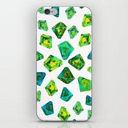 Green beautiful hand drawn gems. iPhone Skin