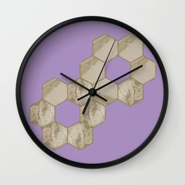 Hexagon flower and leaf in lilac Wall Clock