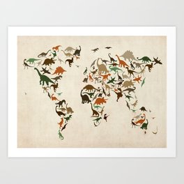 Dinosaur Map of the World Map Art Print