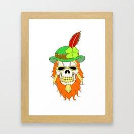 Irish Steampunk Shamrock Skull Framed Art Print