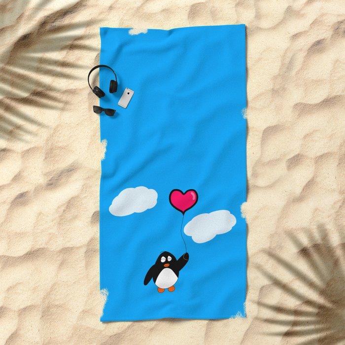 Penguin with Heart Balloon Beach Towel