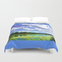 wisconsin Duvet Covers featuring Lake Wingra, Wisconsin by Ron Trickett