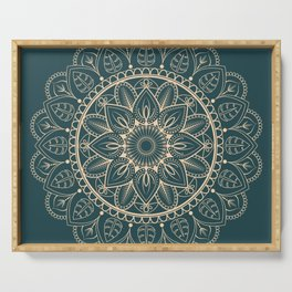 Petrol-Green and Yellow mandala I Serving Tray