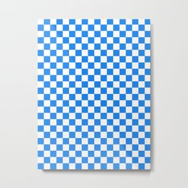Small Checkered - White and Dodger Blue Metal Print