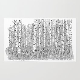 Birch Trees Black and White Illustration Rug