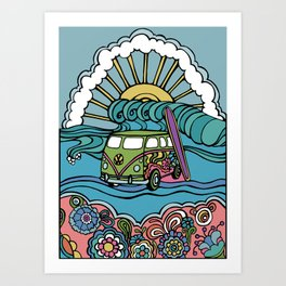 Surfside Love Bus Art Print