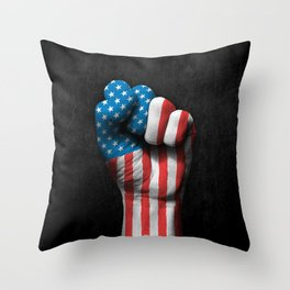 Flag of The United States on a Raised Clenched Fist Throw Pillow