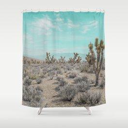 Teal Desert Sky // Cactus Landscape Photography Sierra Nevada USA Cloud Dusted Sky Shower Curtain