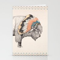 bison Stationery Cards featuring White Bison by Sandra Dieckmann