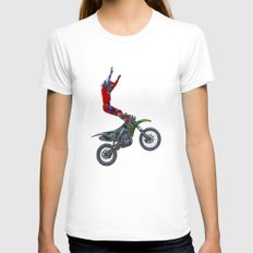 MotoCross Aerial Foot Grab White LARGE Womens Fitted Tee