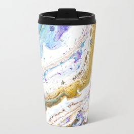 Abstract contemporary painting art, galaxy, fluid painting, space, universe purple pink blue Travel Mug