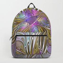 Flourish, Abstract Fractal Art Flower Backpack