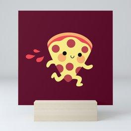 Cute running pizza slice Mini Art Print