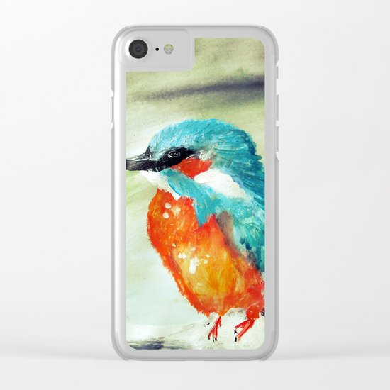 Kingfisher British Wildlife Acrylic Fine Art Clear iPhone Case