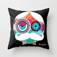psychadelic Throw Pillows featuring Mr. Mustache Man Psychadelic by Gabriel J Galvan